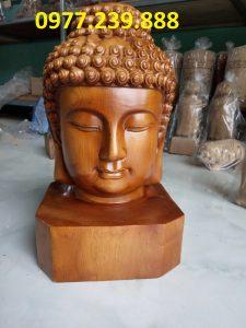 tượng diện phật gỗ bách xanh 40cm