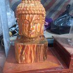 tượng diện phật phong thủy bằng gỗ bách xanh 40cm