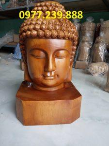 tượng diện phật phong thủy gỗ bách xanh 20cm