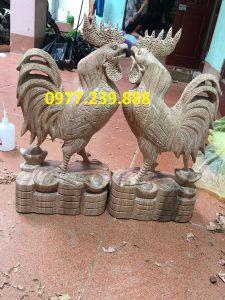 tượng gà bằng gỗ hương việt