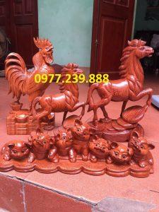 tượng gà phong thủy gỗ hương
