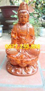 tượng gỗ phật bà quan âm bằng gỗ hương 30cm