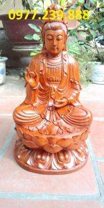 tượng gỗ phật bà quan âm bằng gỗ hương 40cm
