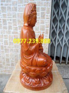 tượng gỗ phật bà quan âm bằng gỗ hương 50cm