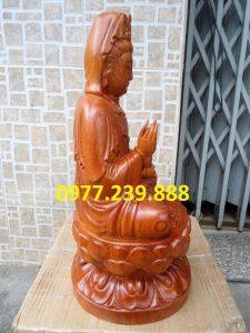 tượng gỗ phật bà quan âm bằng gỗ hương 60cm