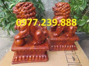 tượng linh vật kỳ lân gỗ hương