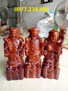 tượng phúc lộc thọ bằng gỗ trắc dây 50cm