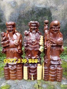 tượng phúc lộc thọ bằng gỗ trắc dây 60cm