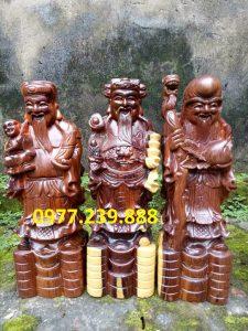 tượng phúc lộc thọ bằng gỗ trắc dây 70cm