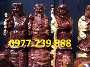 tượng phúc lộc thọ bằng gỗ trắc dây giá rẻ