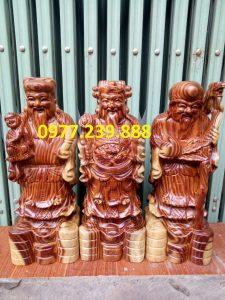 tượng phúc lộc thọ gỗ trắc 30cm