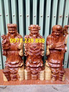 tượng phúc lộc thọ gỗ trắc 40cm