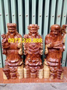 tượng phúc lộc thọ gỗ trắc 50cm