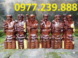 tượng phúc lộc thọ gỗ trắc 60cm