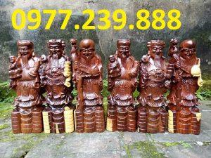 tượng phúc lộc thọ gỗ trắc 70cm