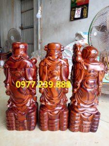 tượng phúc lộc thọ gỗ trắc dây 70cm
