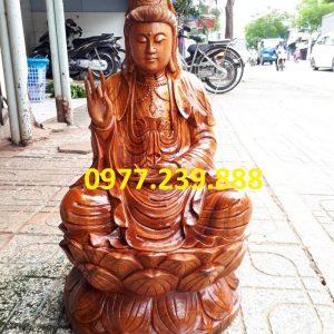 tượng phật bà bằng gỗ hương 60cm