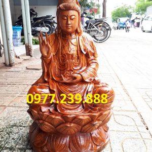 tượng phật bà bằng gỗ hương 70cm