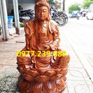 tượng phật bà bằng gỗ hương 80cm