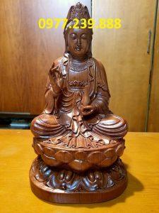 tượng phật bà ngồi đài sen gỗ hương 15cm