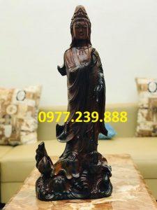 tượng phật bà quan âm bằng gỗ mun giá rẻ