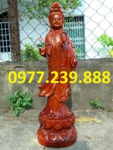 tượng phật quan âm đứng gỗ hương đá