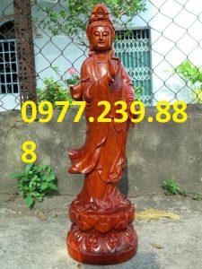 tượng phật quan âm đứng gỗ hương đỏ