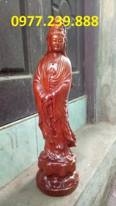tượng phật quan âm đứng gỗ hương
