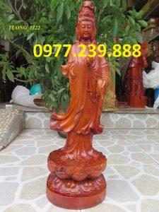 tượng phật quan âm đứng gỗ hương 40cm