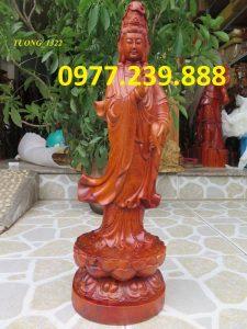 tượng phật quan âm đứng gỗ hương 50cm