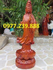 tượng phật quan âm đứng gỗ hương 60cm