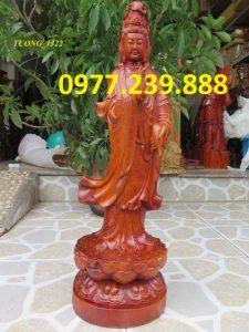 tượng phật quan âm đứng gỗ hương 70cm