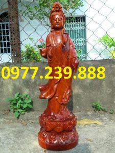 tượng phật quan âm đứng gỗ hương nam phi