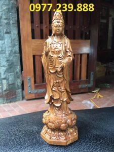 tượng phật quan âm gỗ bách xanh 30cm