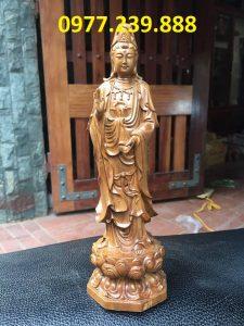 tượng phật quan âm gỗ bách xanh 50cm