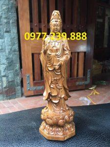 tượng phật quan âm gỗ bách xanh 70cm