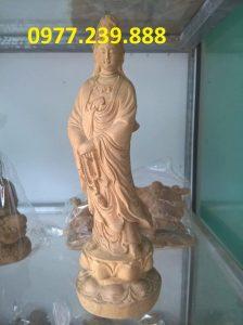 tượng quan âm đài sen bằng bách xanh 40cm