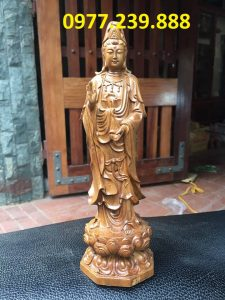tượng quan âm đài sen bằng bách xanh 70cm