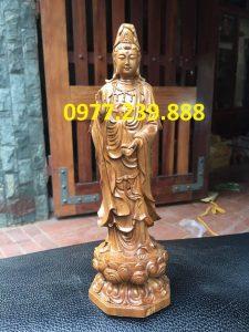 tượng quan âm đài sen bằng gỗ bách xanh 30cm
