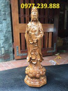 tượng quan âm đài sen bằng gỗ bách xanh 40cm