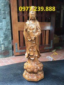 tượng quan âm đài sen bằng gỗ bách xanh 50cm