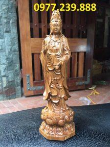 tượng quan âm đài sen bằng gỗ bách xanh 60cm