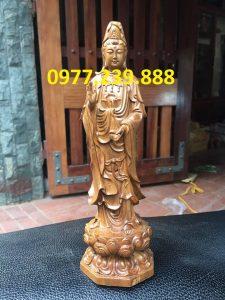 tượng quan âm đài sen bằng gỗ bách xanh 70cm