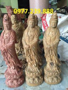 tượng quan âm đài sen bằng gỗ bách xanh 80cm