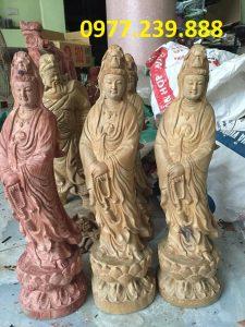 tượng quan âm đài sen gỗ bách xanh 30cm