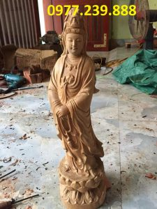 tượng quan âm đài sen gỗ bách xanh 40cm
