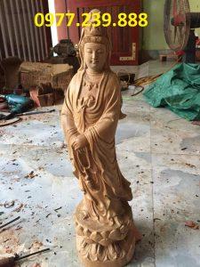 tượng quan âm đài sen gỗ bách xanh 50cm