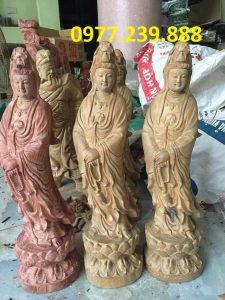 tượng quan âm đài sen gỗ bách xanh 60cm