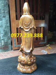 tượng quan âm đài sen gỗ bách xanh 70cm