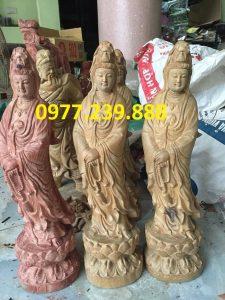 tượng quan âm đài sen gỗ bách xanh 80cm
